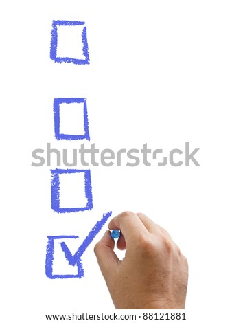 Hand with chalk mark the one of choices isolated - stock photo