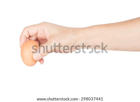 hand with chicken egg isolated on white