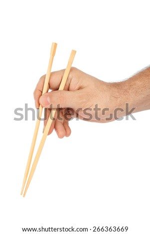 Hand with chopsticks isolated on white background