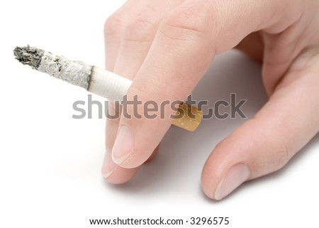 Hand with Cigarette - stock photo