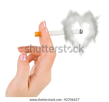 Hand with cigarette and heart shaped smoke isolated on white background