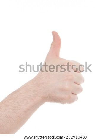 Hand with class sign isolated on white - stock photo