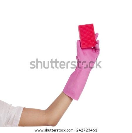 Hand with cleaning sponge over isolated background