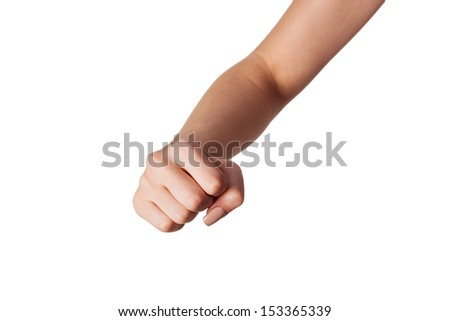 Hand with clenched a fist, isolated on a white background - stock photo