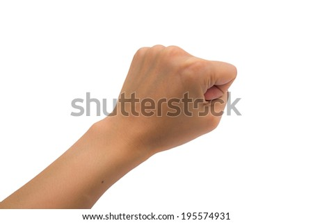 Hand with clenched a fist, isolated on a white background