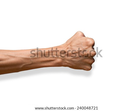 Hand with clenched a fist, isolated on a white background with clipping path  - stock photo