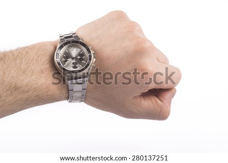 hand with clock - stock photo
