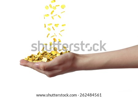 Hand with coins isolated on white background - stock photo