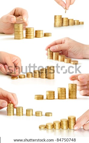 hand with coins like diagram collection - stock photo