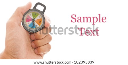 Hand with Compass Bearing South and Space for Text