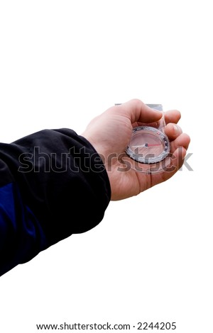 Hand with compass on isolated background - stock photo