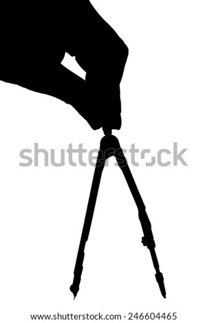 Hand with compasses isolated on white background - stock photo