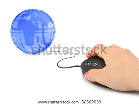 Hand with computer mouse and globe isolated on white background