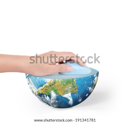 Hand with computer mouse and globe ,Some components of this image are provided courtesy of NASA  - stock photo