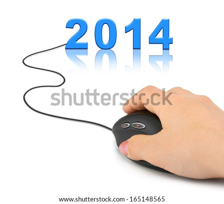 Hand with computer mouse and 2014 - new year concept - stock photo