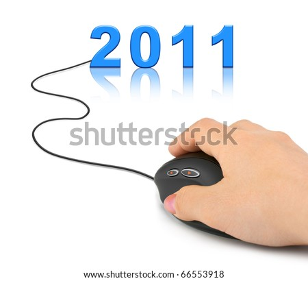 Hand with computer mouse and 2011 - new year concept - stock photo