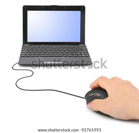 Hand with computer mouse and notebook isolated on white background - stock photo