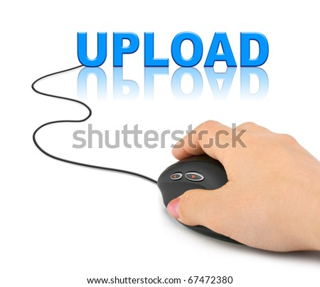 Hand with computer mouse and word Upload - internet concept - stock photo