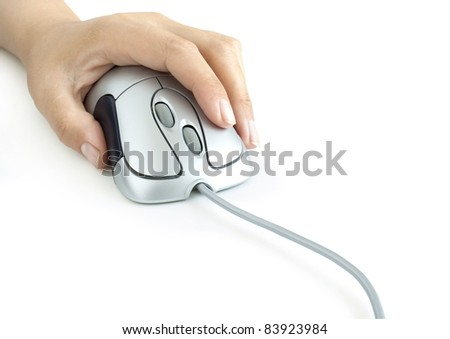 Hand with computer mouse on white background - stock photo