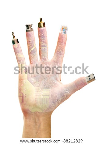 hand with computer terminals at their fingertips isolated on white background - stock photo