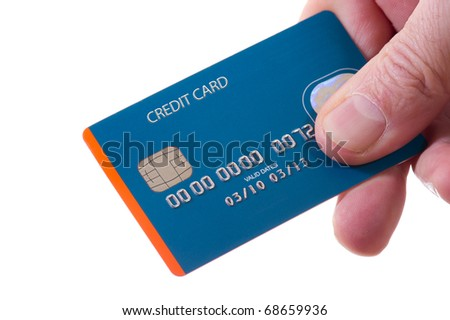 hand with credit card - stock photo