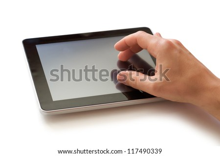 hand with digital tablet - stock photo