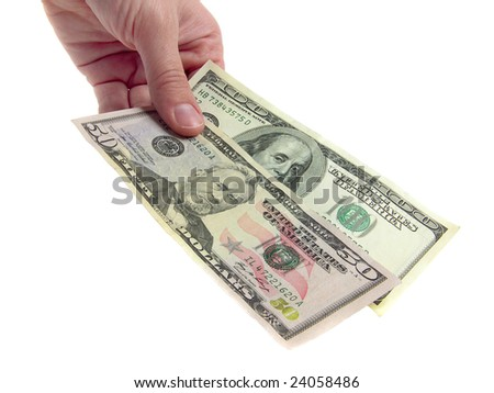 hand with dollar banknote on white background