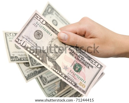 Hand with dollars isolated on a white