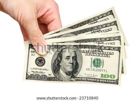 Hand with dollars isolated on background