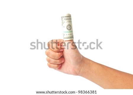 Hand with dollars on white background - stock photo