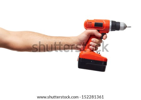 Hand with drill. Isolated on white background. - stock photo