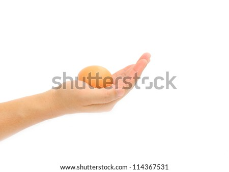 Hand With Egg Isolated On White Background - stock photo