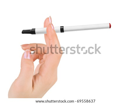 Hand with electronic cigarette isolated on white background - stock photo