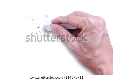 hand with eraser - stock photo