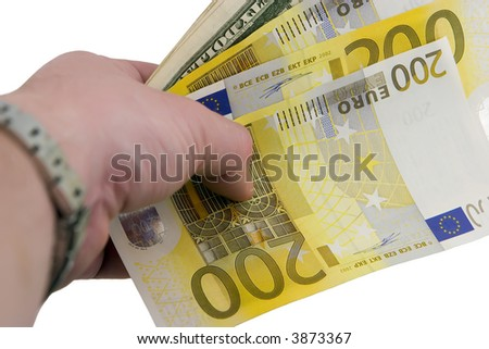 Hand with euro and dollars
