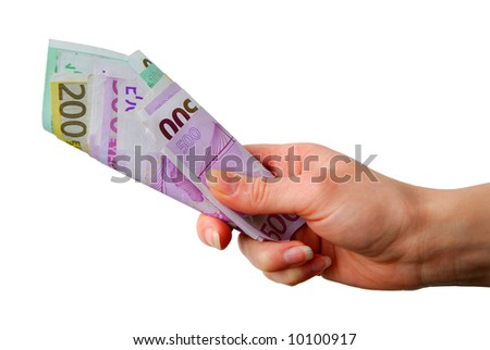 Hand with euro bank notes over white background