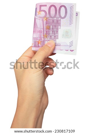 Hand with euro banknote