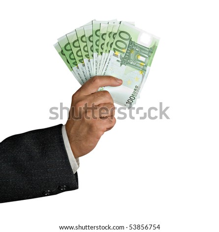 Hand with euro banknotes - stock photo