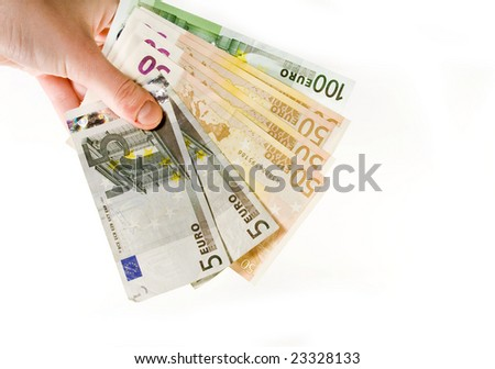 Hand with euro isolated on white