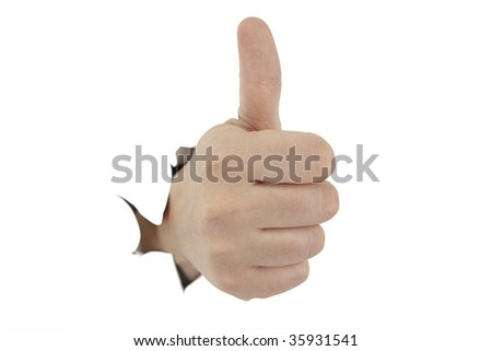 Hand with gesture No. 1, breaking white paper - stock photo