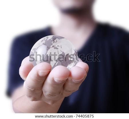 hand With globe - stock photo