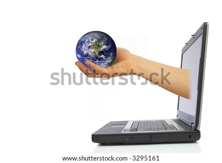 hand with globe coming from laptop screen