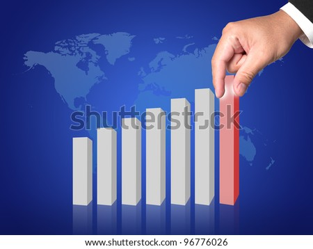 hand with graph of success business company