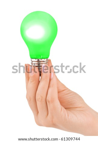 Hand with green lamp isolated on white background