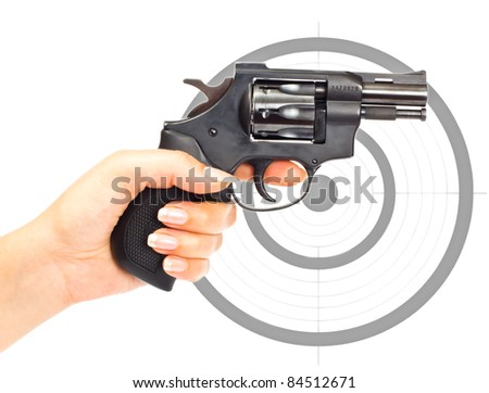 Hand with gun and target isolated over a white background - stock photo