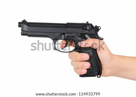 Hand with gun, isolated on white background - stock photo