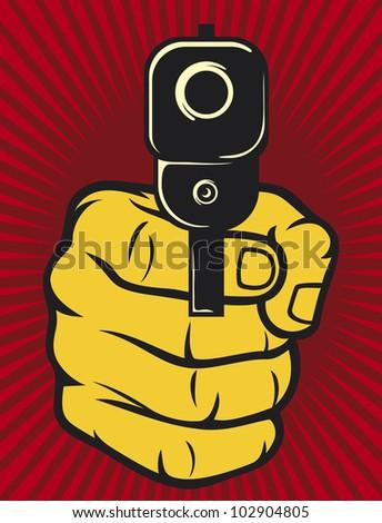 hand with gun (pistol), gun pointed - stock photo