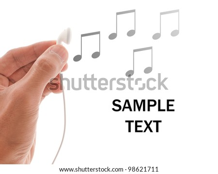 Hand with Headphones and Notes with Space for Text - stock photo