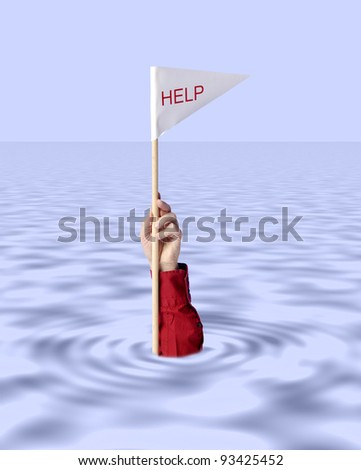 hand with help flag sticking out of water