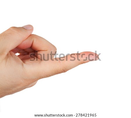 Hand with index finger isolated on white background. - stock photo